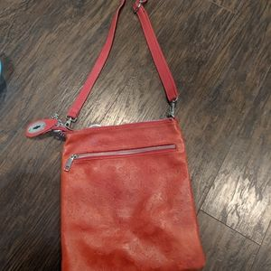 Red Butterfly Embossed Crossbody Bag